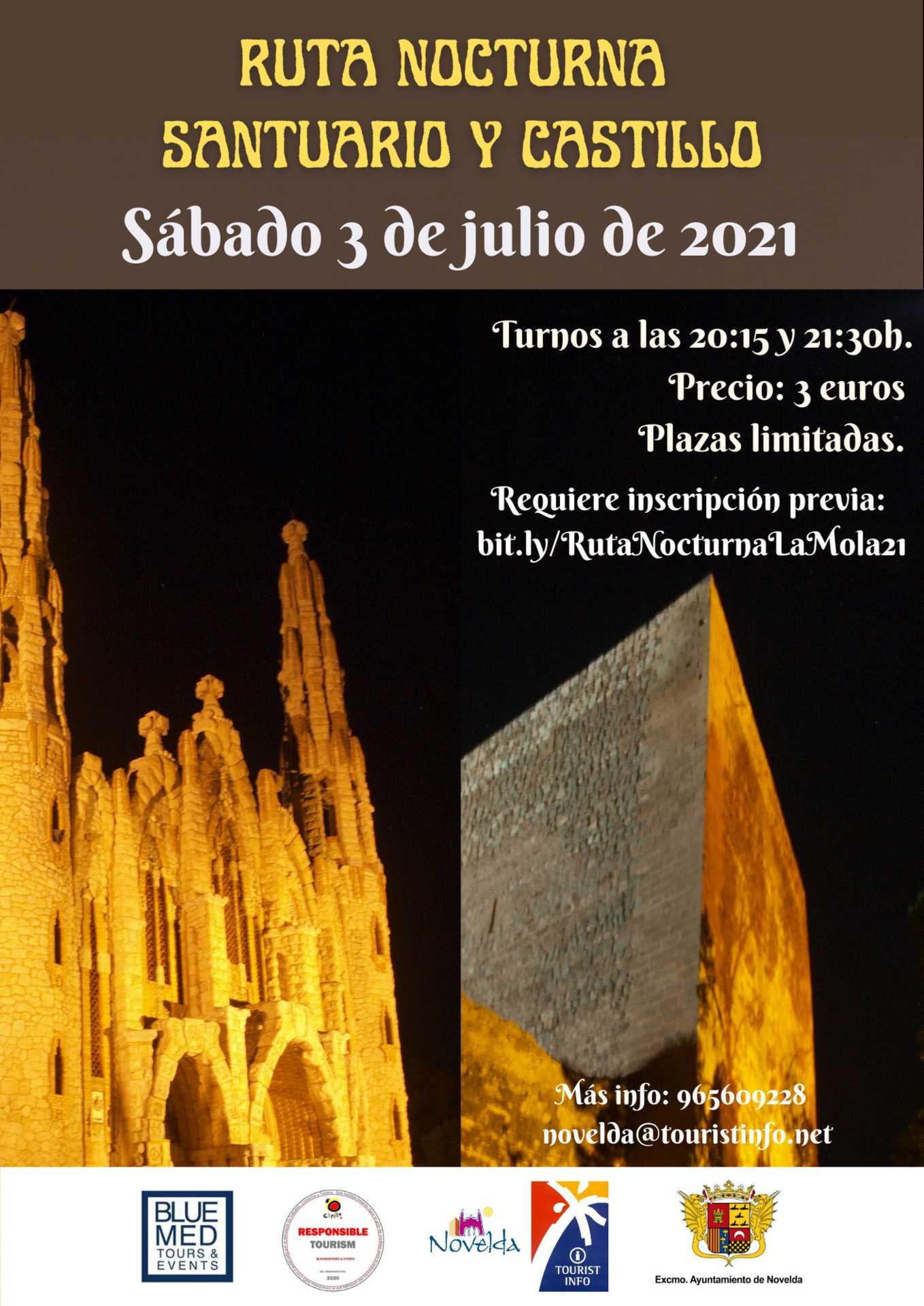 Ruta nocturna al  Santuario y Castillo de Novelda 3 de julio 2021