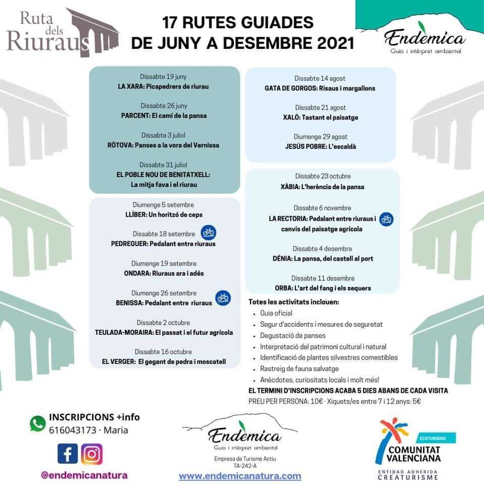 GUIDED ROUTES OF JUNE TO DECEMBER - RUTA DELS RIURAUS